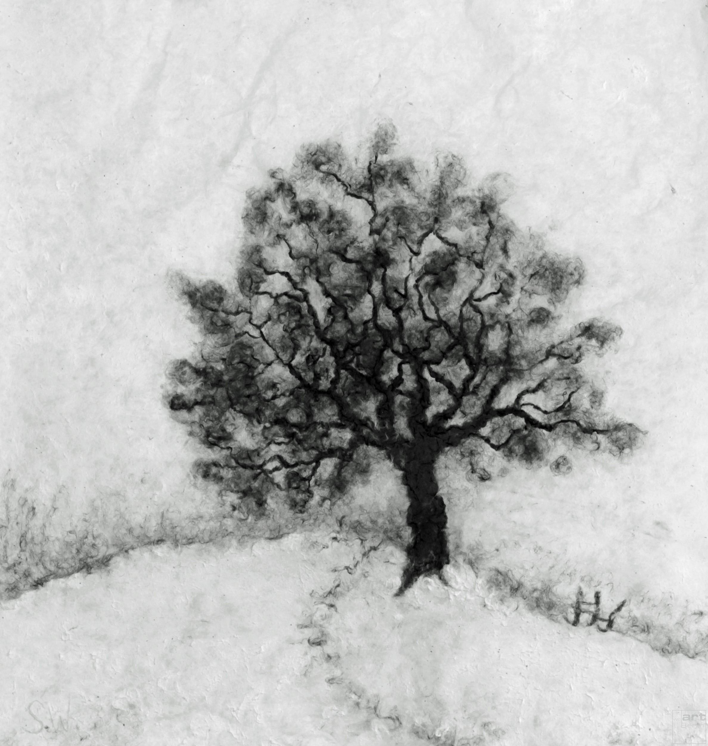 Baum im Schnee   Malerei von Künstlerin Simone Westphal, Papiermalerei