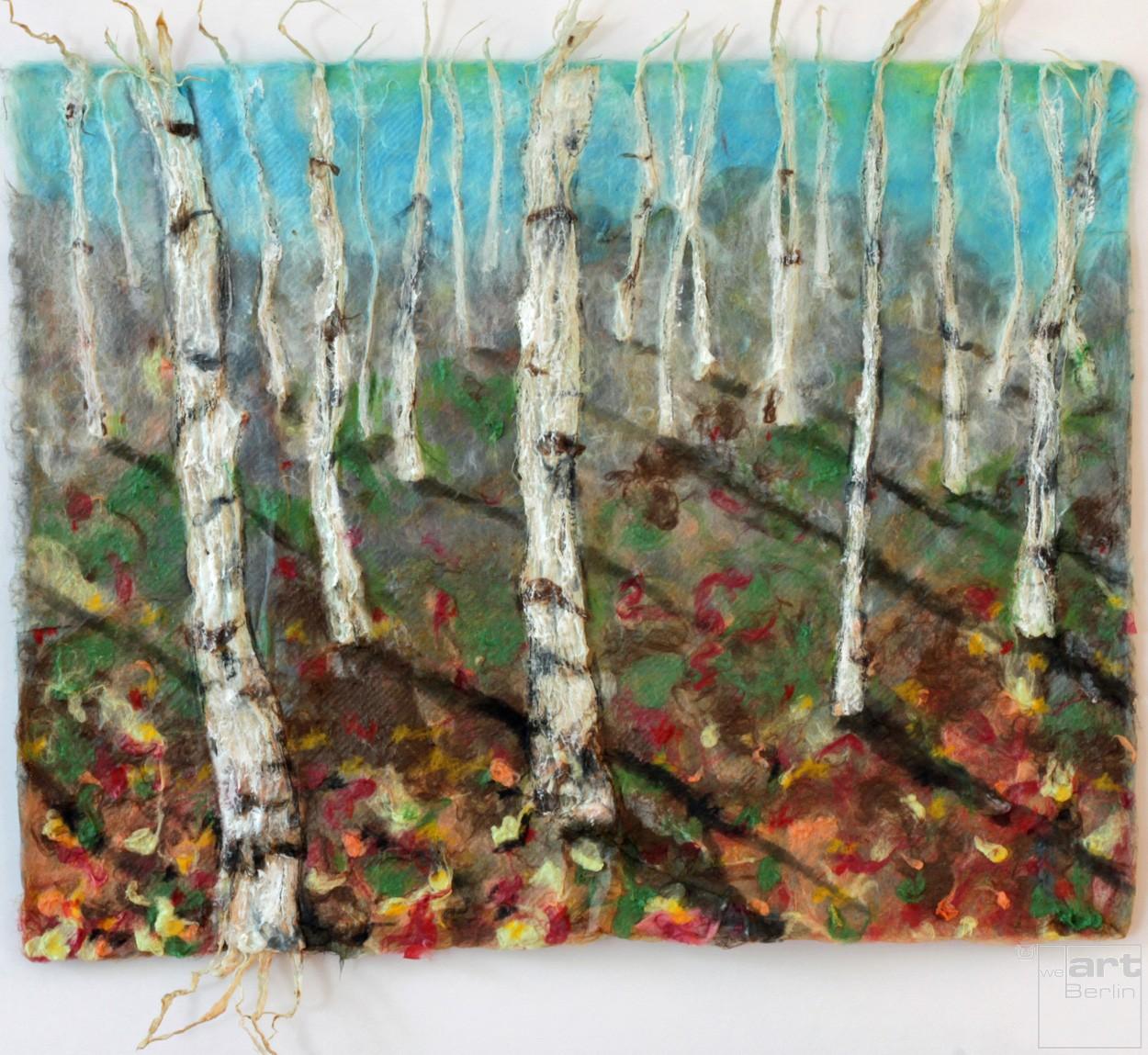 Birkenwald   Malerei von Künstlerin Simone Westphal, Papiermalerei, Acryl