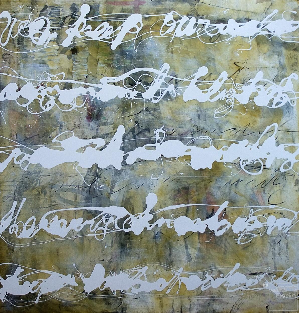 Malerei Stenografie #13 | Künstler Marek Schovanek, Bienenwachs, Öl, Lack auf Leinwand