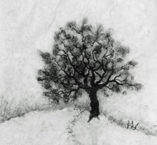 Baum im Schnee | Malerei von Künstlerin Simone Westphal, Papiermalerei