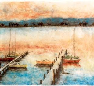 Wannsee Boote | Malerei von Künstlerin Simone Westphal, Papiermalerei
