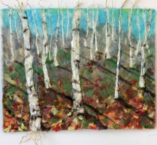 Birkenwald | Malerei von Künstlerin Simone Westphal, Papiermalerei, Acryl