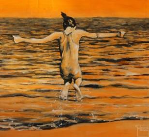 Freudensprung   Malerei von Künstlerin Simone Westphal, Acryl auf Leinwand