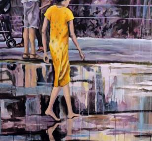 Barfuss | Malerei von Künstlerin Simone Westphal, Acryl auf Leinwand