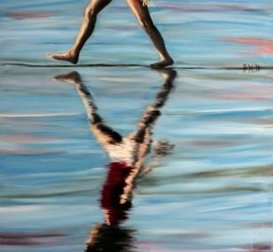 Der Schritt | Malerei von Künstlerin Simone Westphal, Acryl auf Leinwand