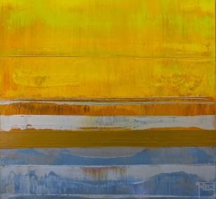 Prisma 18 – Sonniges Silber | Malerei von Lali Torma | Acryl auf Leinwand, abstrakt