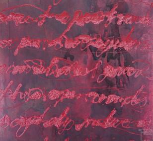 Malerei Pamplona | Künstler Marek Schovanek, Stenography Serie, Beize und Glasurlack auf Leinwand