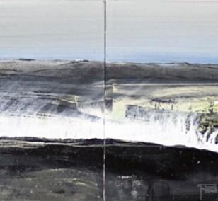 Malerei Mont Blanc | Künstler Marek Schovanek | Mixed Media auf Leinwand, Panorama
