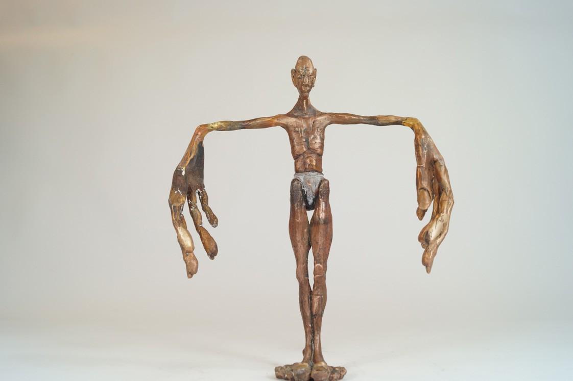 Sprachlos - frontal, Bronze Plastik, Skulptur von Tim David Trillsam