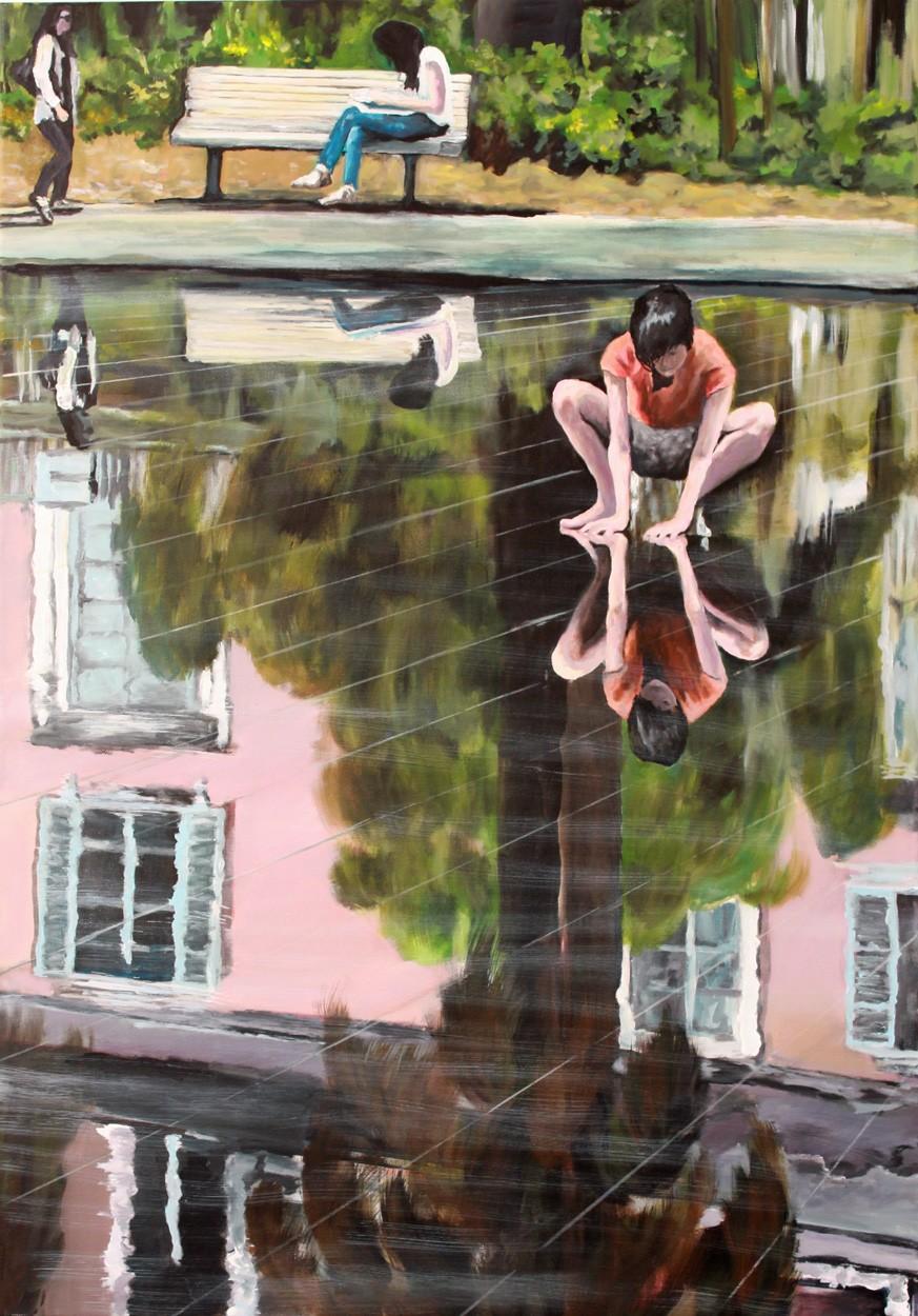 Die Berührung   Malerei von Künstlerin Simone Westphal, Acryl auf Leinwand
