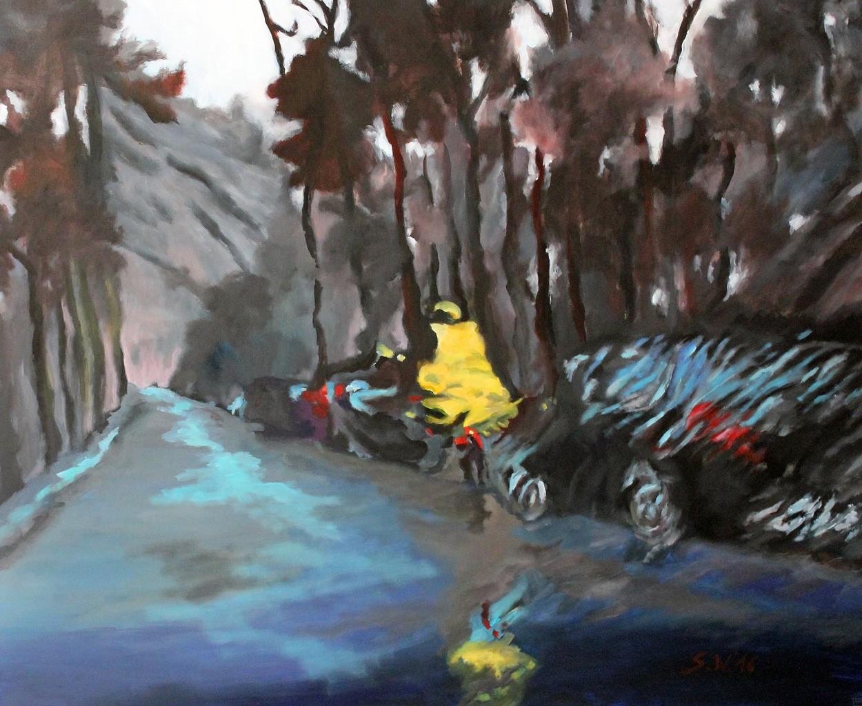 Regentag | Malerei von Künstlerin Simone Westphal, Acryl auf Leinwand