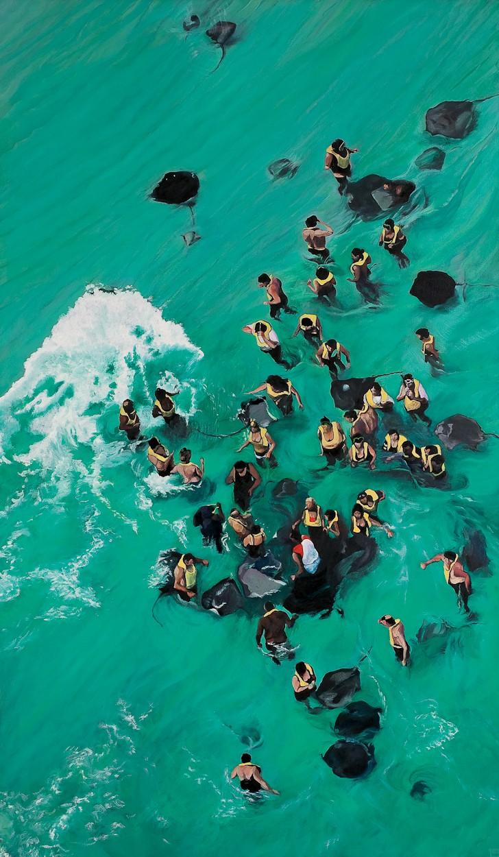 Cayman to go | Malerei von Eva Nordal | Öl auf Baumwolle, realistisch