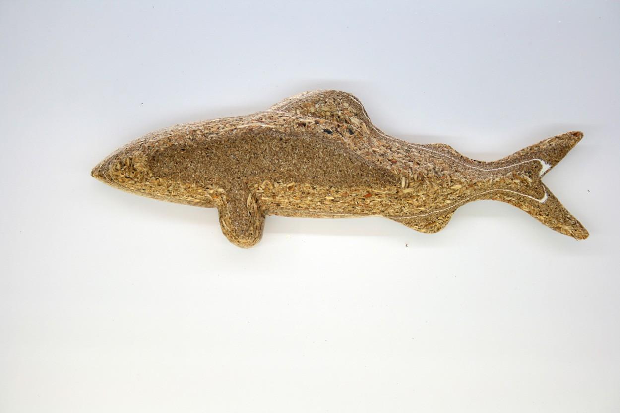 Wandinstallation Forellenschwarm (aus 5)   Künstler Marek Schovanek   Einzelansicht Fisch-Plastik 7 aus Holz