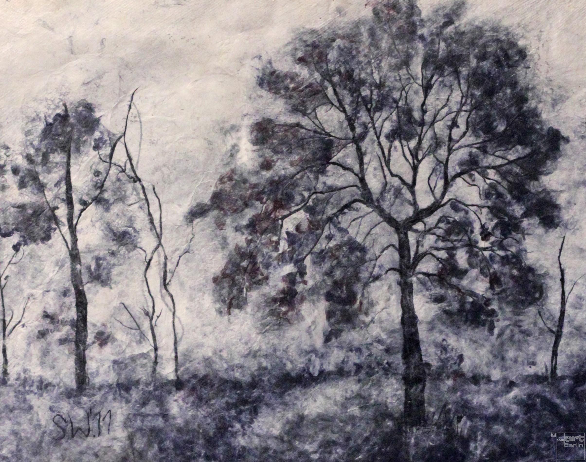 Bäume im Nebel   Malerei von Künstlerin Simone Westphal, Papiermalerei