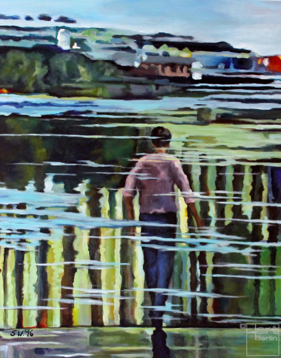 Du im Wasser | Malerei von Künstlerin Simone Westphal, Acryl auf Leinwand