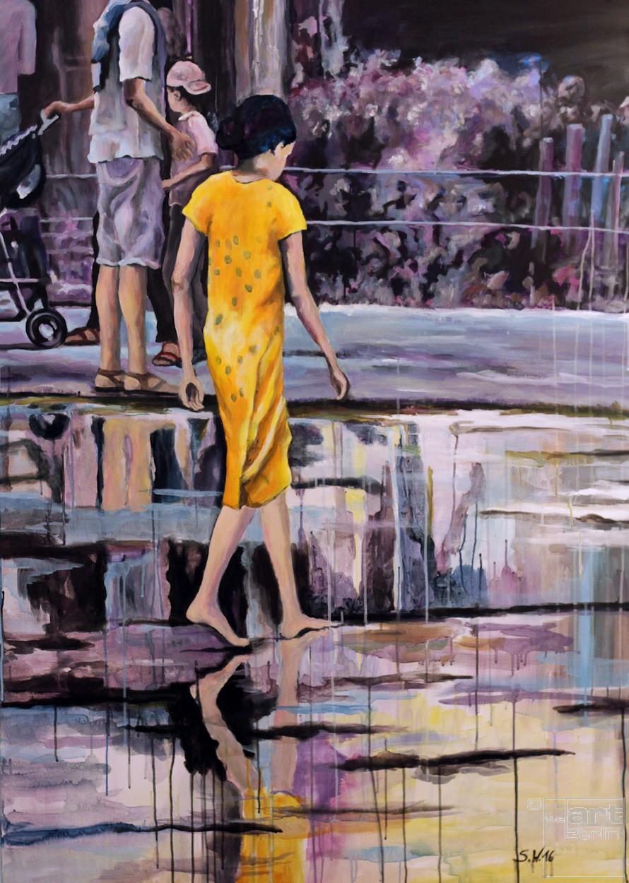 Barfuss   Malerei von Künstlerin Simone Westphal, Acryl auf Leinwand
