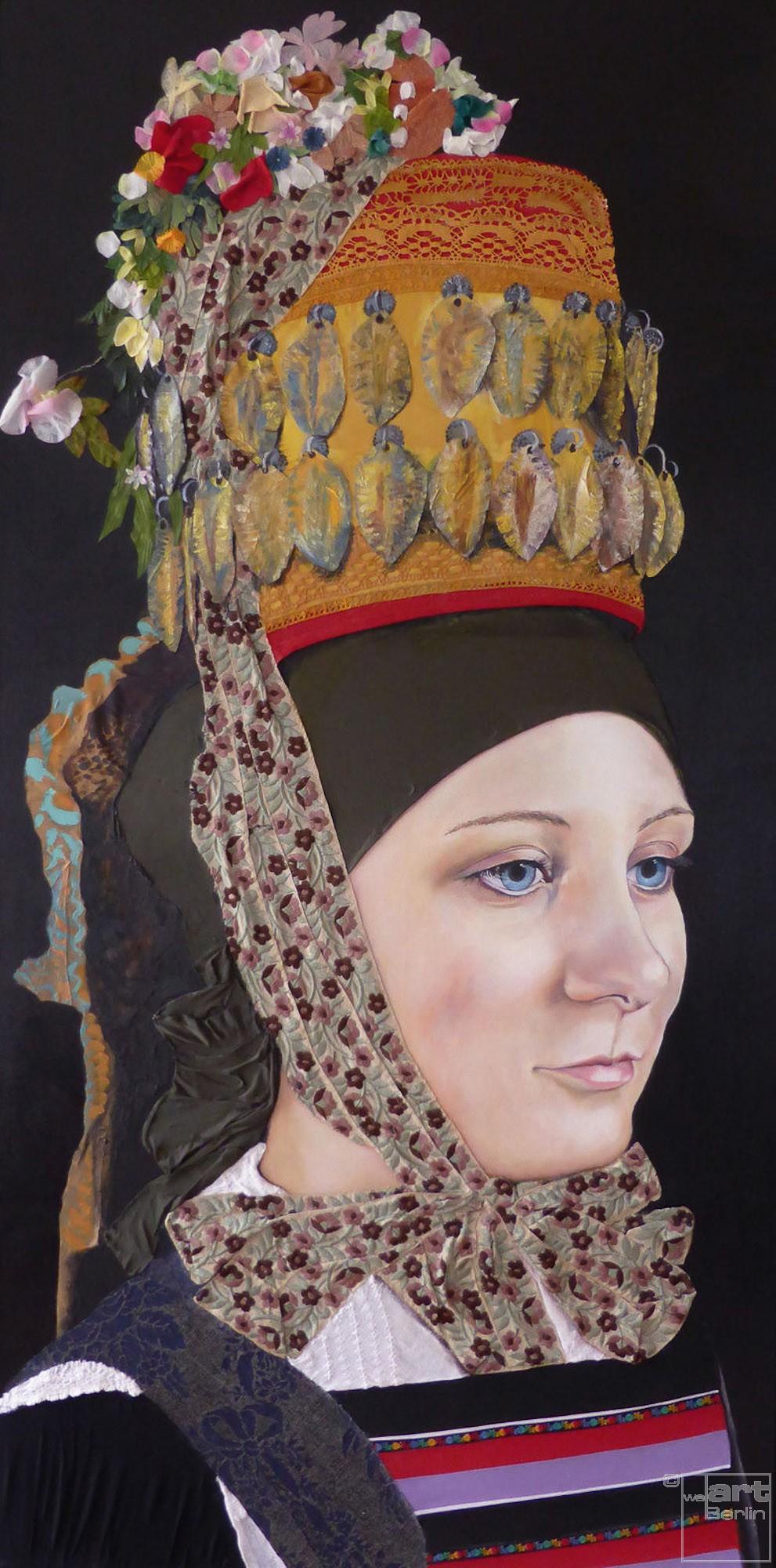 Altenburg | Malerei von Eva Nordal | Öl und Textilien auf Leinwand, realistisch