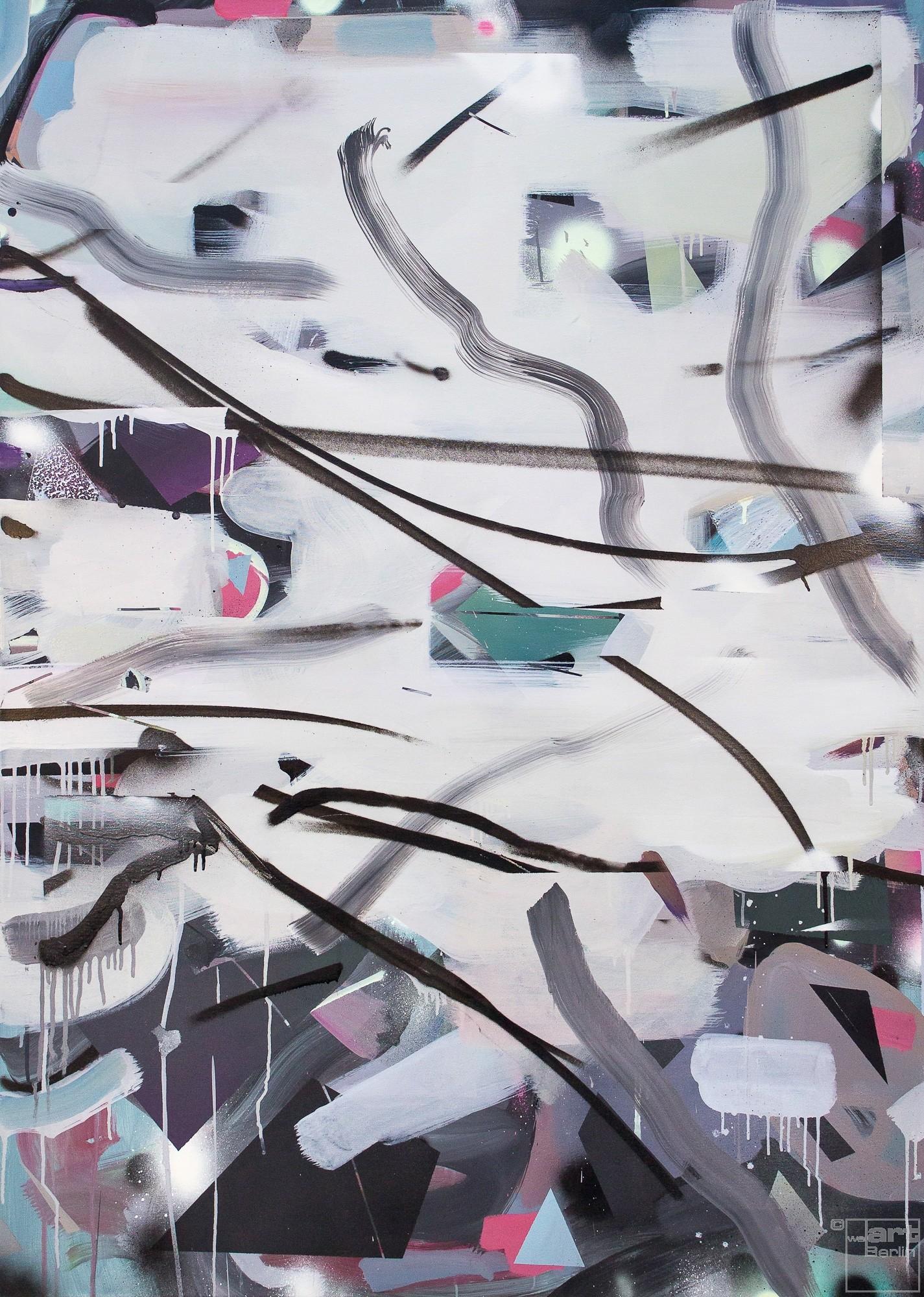 O.T. 08, Malerei von Malwin Faber, Öl, Acryl und Sprühfarbe auf Leinwand