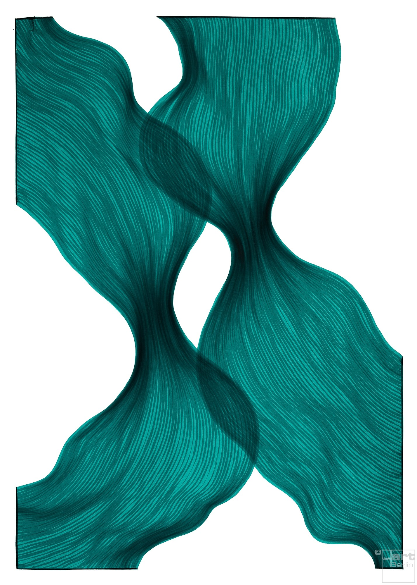 Aqua Dawn Sheer Folds | Lali Torma | Zeichnung | Kalligraphietusche auf Papier
