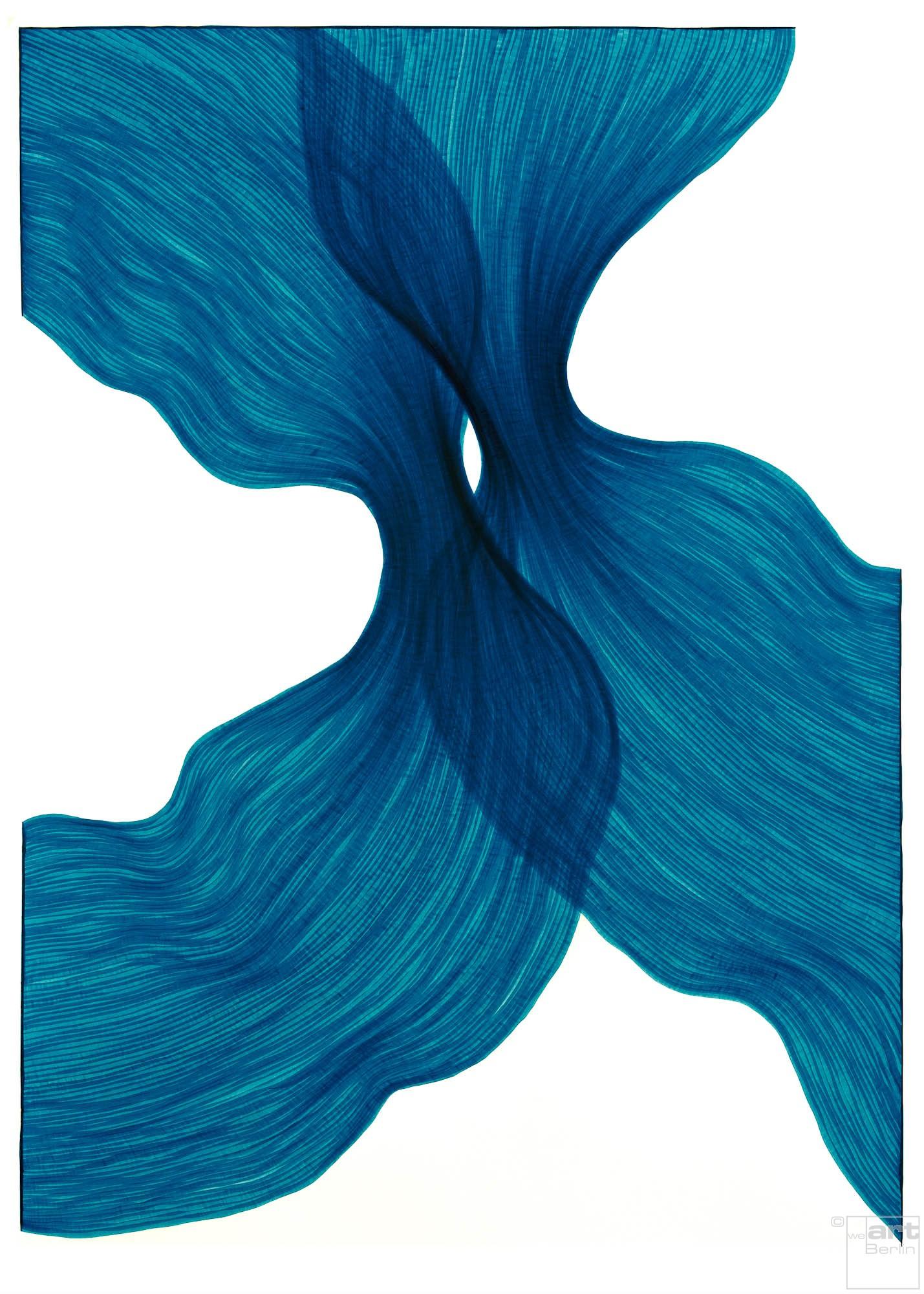 Sea Blue Sheer Folds | Lali Torma | Zeichnung | Kalligraphietusche auf Papier