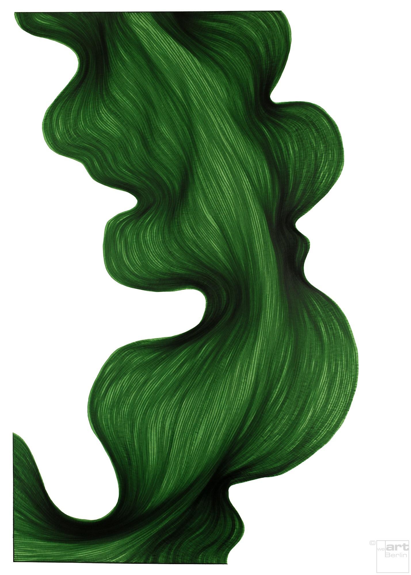 Deep Green Bend   Lali Torma   Zeichnung   Kalligraphie Tinte auf Papier