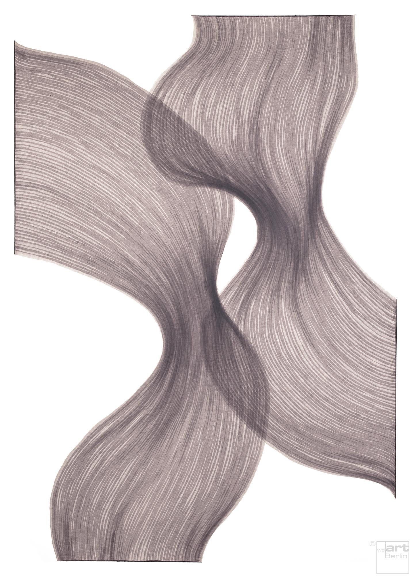 Smoky Lavender Sheer Folds | Lali Torma | Zeichnung | Kalligraphie-Tinte auf Papier