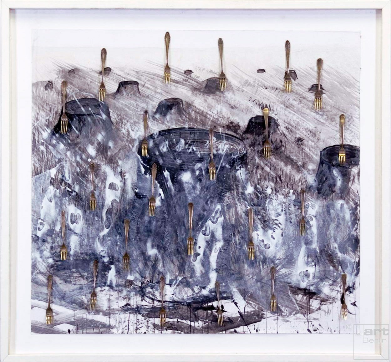 Delikatessen | Mixed Media Malerei | Künstler Marek Schovanek | Silbergabeln, Tusche, Kohle, Latexfarbe auf Papier