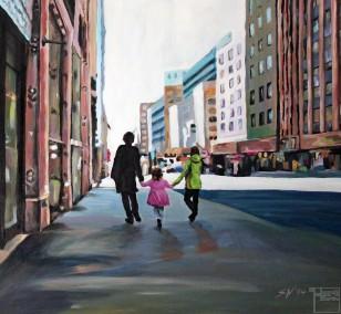 Street in New York | Malerei von Künstlerin Simone Westphal, Acryl auf Leinwand