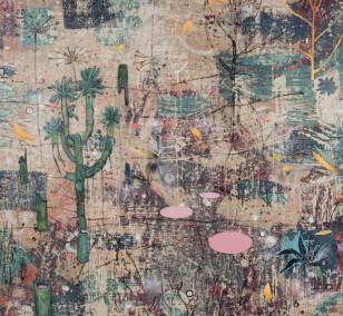 Spurensicherung_09, Malerei von Malwin Faber, Öl, Acryl und Sprühlack auf Leinwand