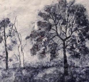 Bäume im Nebel | Malerei von Künstlerin Simone Westphal, Papiermalerei