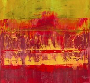 Prisma 11 - Alte Kirche Rubin | Malerei von Lali Torma | Acryl auf Leinwand