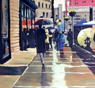 New York im Regen | Malerei von Künstlerin Simone Westphal, Acryl auf Leinwand