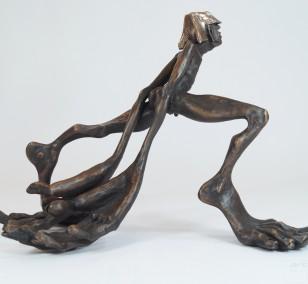 Zeitschläger - seitlich v.r., Bronze Plastik, Skulptur von Tim David Trillsam, Edition