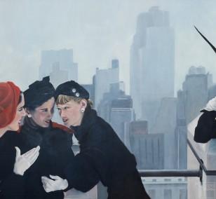 Drei Freundinnen | Malerei von Eva Nordal | Öl auf Baumwolle, realistisch