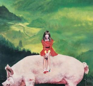 Schwein gehabt | Malerei von Eva Nordal | Öl auf Leinwand, realistisch