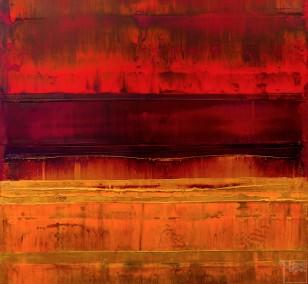 Prisma 15 – Sonnenuntergang Rubin | Malerei von Lali Torma | Acryl auf Leinwand, abstrakt