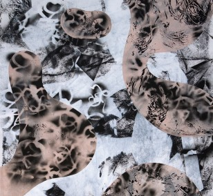 O.T. 38, Malerei von Malwin Faber, Öl, Acryl und Sprühfarbe auf Leinwand
