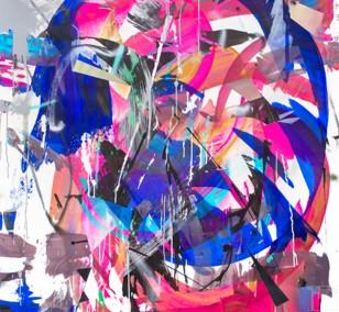 O.T. 12, Malerei von Malwin Faber, Öl, Acryl und Sprühfarbe auf Leinwand