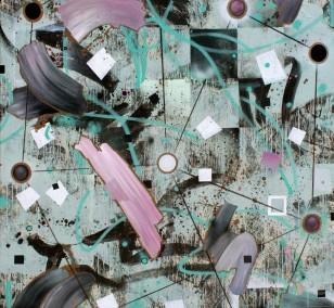 Zwischenräume 12, Malerei von Malwin Faber, Öl, Acryl und Sprühlack auf Leinwand