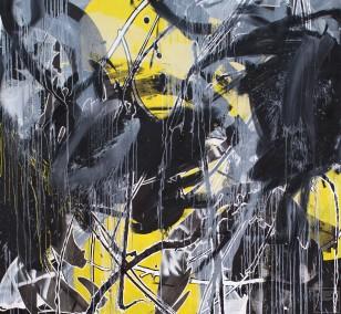 O.T. 27, Malerei von Malwin Faber, Öl, Acryl und Sprühfarbe auf Leinwand