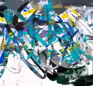 O.T. 29, Malerei von Malwin Faber, Öl, Acryl und Sprühfarbe auf Leinwand