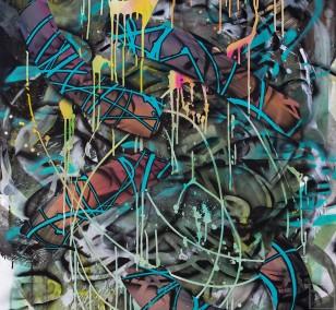 O.T. 34, Malerei von Malwin Faber, Öl, Acryl und Sprühfarbe auf Leinwand