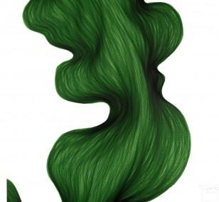 Deep Green Bend | Lali Torma | Zeichnung | Kalligraphie Tinte auf Papier