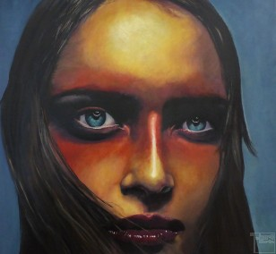 Schwarz - Rot - Gold | Malerei von Eva Nordal | Öl auf Baumwolle, realistisch