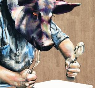 Heiligenschwein | Malerei von Holger Weissflog, innerfields | Acryl auf Leinwand, Urban Art