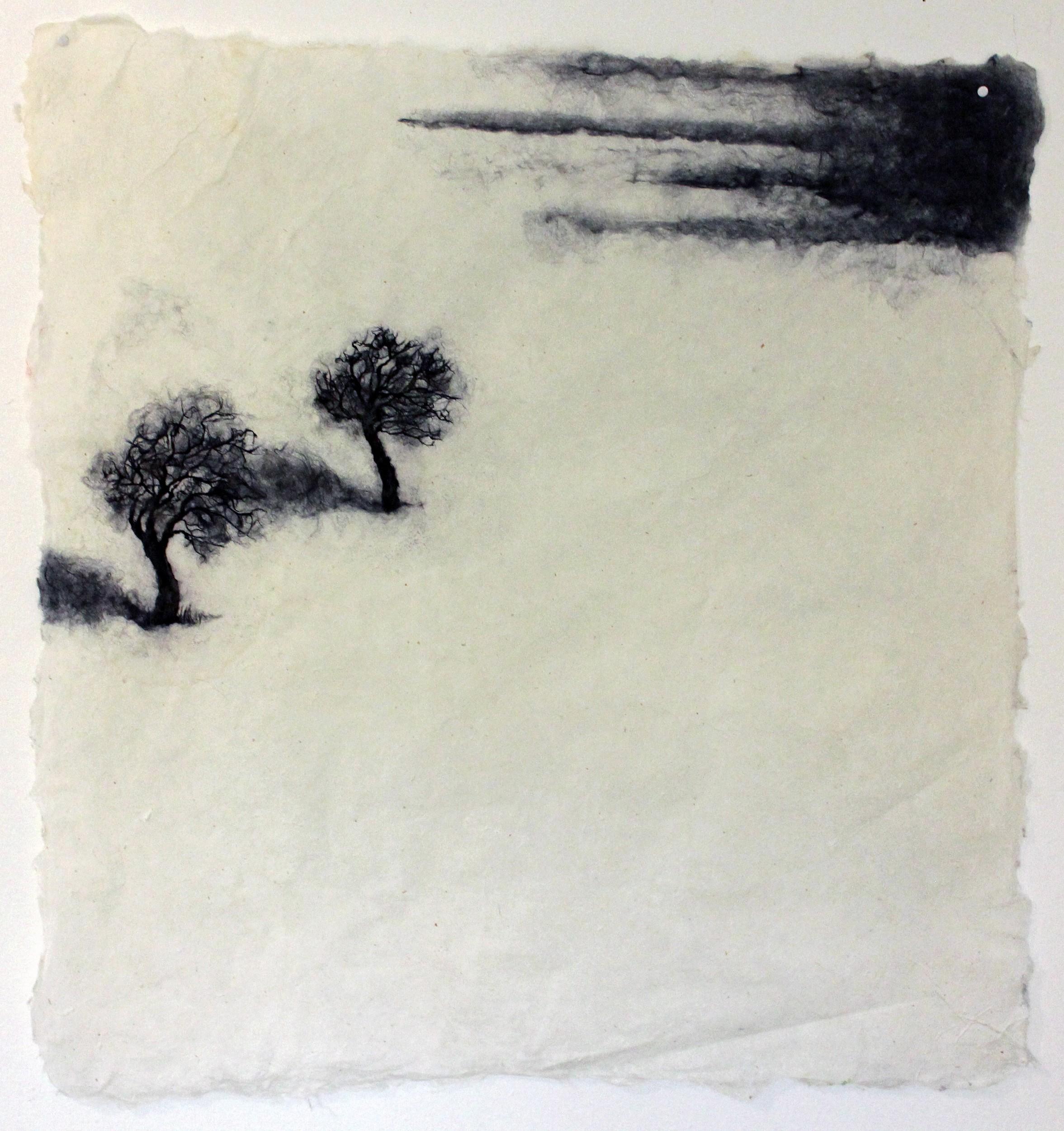 Zwei Bäume im Schnee | Malerei von Künstlerin Simone Westphal, Papiermalerei