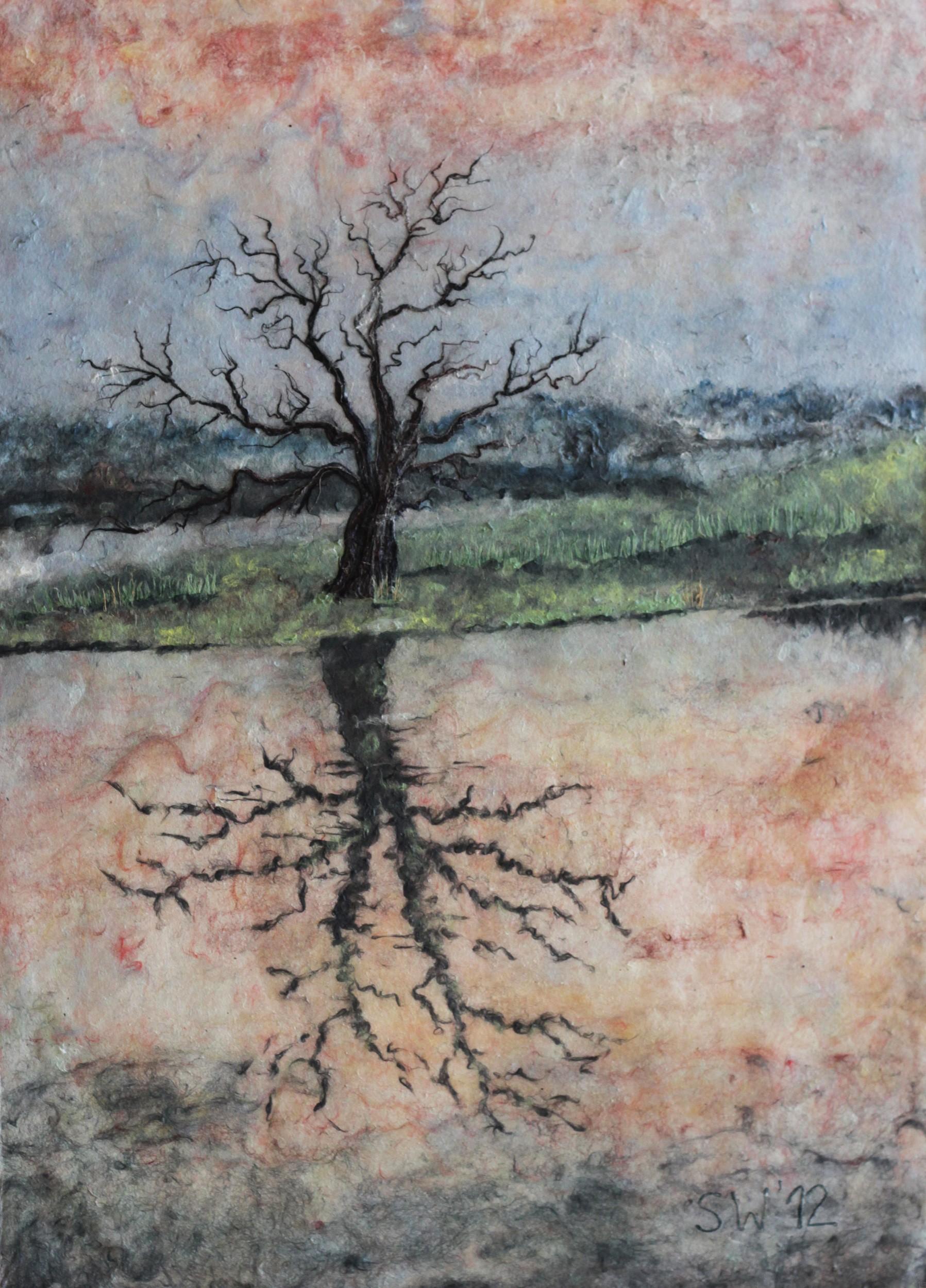 Baumspiegelung im Wasser | Malerei von Künstlerin Simone Westphal, Papiermalerei