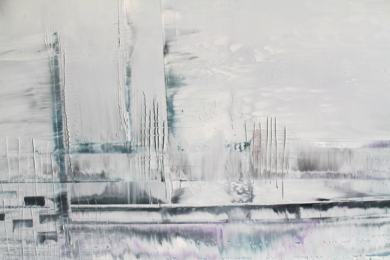 Nadel im Schnee, Detail, Malerei von Lali Torma | Acryl auf Leinwand, abstrakt