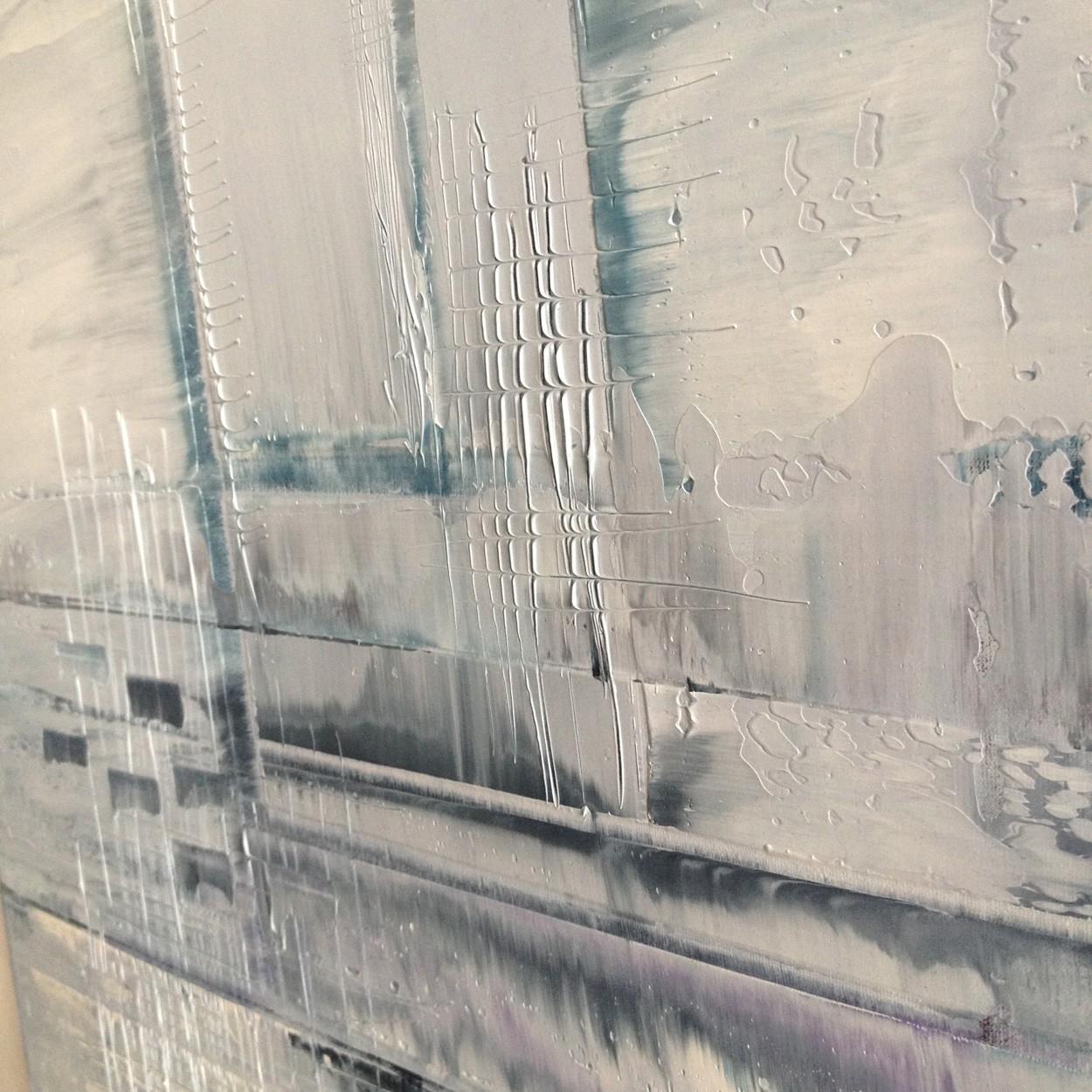 Nadel im Schnee, Detail seitlich, Malerei von Lali Torma | Acryl auf Leinwand, abstrakt