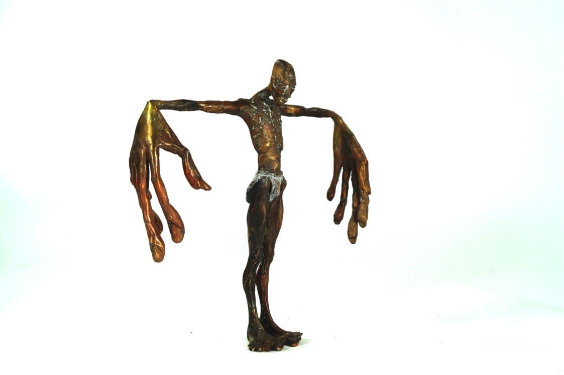 Sprachlos - seitlich von links, Bronze Plastik, Skulptur von Tim David Trillsam